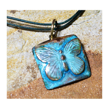 Butterfly Verdigris Patina Solid Brass Pendant Necklace | Elaine Coyne Jewelry | ECGBUP129PD