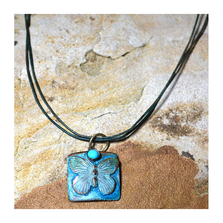 Butterfly Verdigris Patina Solid Brass Turquoise Pendant Necklace | Elaine Coyne Jewelry | ECGBUP129PDTU
