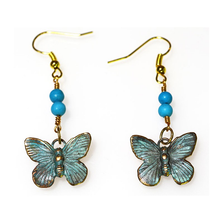 Butterfly Verdigris Patina Solid Brass Turquoise Wire Earrings | Elaine Coyne Jewelry | ECGBUP129ETU