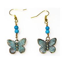 Butterfly Verdigris Patina Solid Brass Turquoise Wire Earrings | Elaine Coyne Jewelry | ECGBUP129ETU