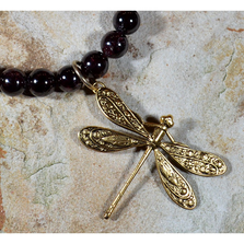 Dragonfly Antiqued Gold Solid Brass Necklace | Elaine Coyne Jewelry | ECGDRG7502NGA