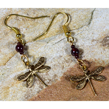 Dragonfly Antiqued Gold Brass Wire Earrings | Elaine Coyne Jewelry | ECGDRG8EGA