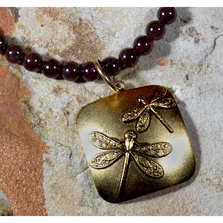 Classic Dragonfly Antiqued Gold Solid Brass Necklace | Elaine Coyne Jewelry | ECGNAG75PD
