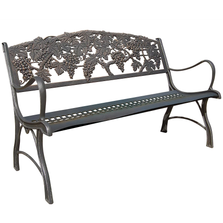Grapes Cast Iron Garden Bench | Painted Sky | PB-GP-100BR