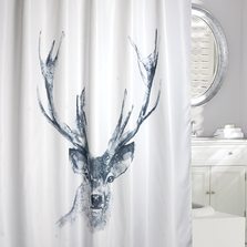 "Deer Fabric Shower Curtain ""Alberta"" 
