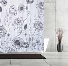 Flower Sketchbook Fabric Shower Curtain | Moda at Home