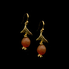 Pomegranate Drop Wire Earrings | Nature Jewelry | Michael Michaud | 3540BZ