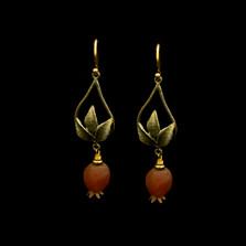 Pomegranate Tear Drop Wire Earrings   Nature Jewelry   Michael Michaud   3541BZ