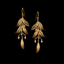 Leaf Tapestry Statement Wire Earrings   Nature Jewelry   Michael Michaud   3545BZ