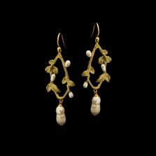 Victorian Vine Leaf Oval Wire Earrings | Nature Jewelry | Michael Michaud | 3557BZ