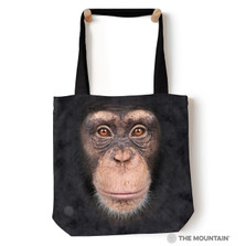 """Chimp Face 18"""" Tote Bag 