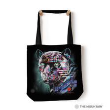 "Painted Jaguar 18"" Tote Bag 
