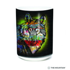 Painted Wolf 15oz Ceramic Mug | The Mountain | 57632009011 | Wolf Mug