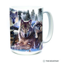 Wolf Family Mountain 15oz Ceramic Mug | The Mountain | 57628309011 | Wolf Mug
