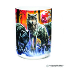 Fire and Ice Wolves 15oz Ceramic Mug | The Mountain | 57400109011 | Wolf Mug