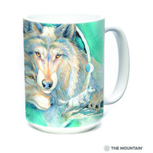Wolf Art 15oz Ceramic Mug | In Spirit I am Free | The Mountain | 57484509011 | Wolf Mug