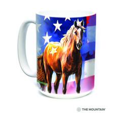 Horse Wild Star Flag 15oz Ceramic Mug   The Mountain   57371409011   Horse Mug
