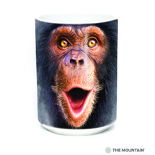 Happy Chimp Face 15oz Ceramic Mug | The Mountain | 57596209011 | Chimpanzee Mug