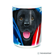 Patriotic Black Lab Puppy 15oz Ceramic Mug | The Mountain | 57597209011 | Black Lab Mug