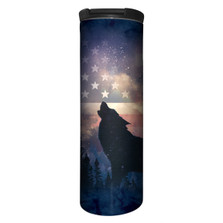 Patriotic Wolf Howl Stainless Steel 17oz Travel Mug | The Mountain | 5959711 | Wolf Travel Mug