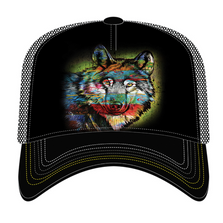 Painted Wolf Trucker Hat | The Mountain | 76632001009 | Wolf Hat