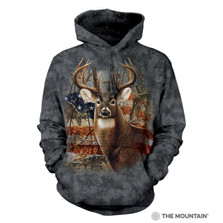 Patriotic Buck Unisex Hoodie | The Mountain | 723709 | Deer Sweatshirt