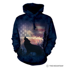 Patriotic Wolf Howl Unisex Hoodie | The Mountain | 725971 | Wolf Sweatshirt