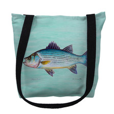 Striped Bass Aqua Tote Bag | Betsy Drake | TY002ACM