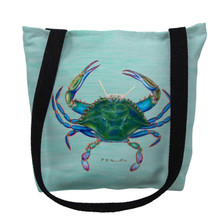Blue Crab on Aqua Tote Bag | Betsy Drake | TY004CM