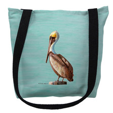 Pelican on Aqua Tote Bag | Betsy Drake | TY035CM