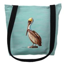 Pelican on Aqua Tote Bag | Betsy Drake | TY035CM