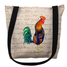 Blue Rooster with Beige Script Tote Bag | Betsy Drake | TY037AM