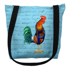 Blue Rooster with Blue Script Tote Bag | Betsy Drake | TY037BM