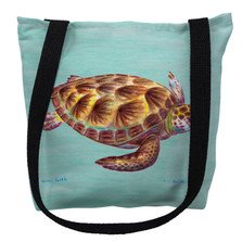 Green Sea Turtle on Aqua Tote Bag | Betsy Drake | TY044CM