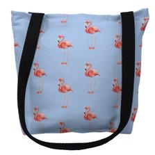 Flamingo Tiled Light Blue Tote Bag | Betsy Drake | TY084BM