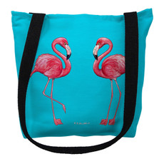 Flamingos on Turquoise Tote Bag | Betsy Drake | TY084TM