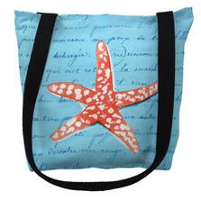 Coral Starfish Blue Script Tote Bag | Betsy Drake | TY091BM