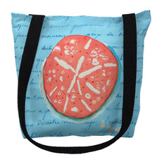 Coral Sand Dollar Blue Script Tote Bag | Betsy Drake | TY092BM