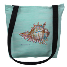 Conch Shell on Aqua Tote Bag | Betsy Drake | TY094CM