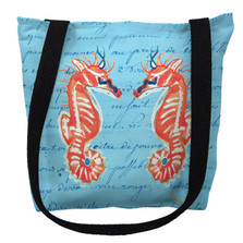 Coral Seahorses Blue Script Tote Bag | Betsy Drake | TY100BM