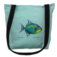 Trigger Fish Aqua Tote Bag | Betsy Drake | TY114CM