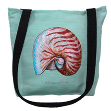 Nautilus Shell Aqua Tote Bag | Betsy Drake | TY118CM