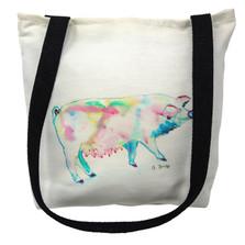 Watercolor Pink Pig Tote Bag | Betsy Drake | TY124M