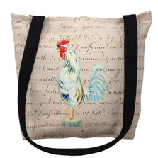 White Rooster with Beige Script Tote Bag | Betsy Drake | TY133AM