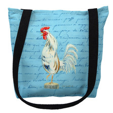 White Rooster with Blue Script Tote Bag | Betsy Drake | TY133BM