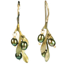 Olive Drop Wire Earrings | Michael Michaud Jewelry | SS4188BZOP