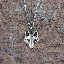 Fox Head Sterling Silver Pendant Necklace | Kabana Jewelry | P910