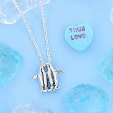 Penguin Pair Sterling Silver Pendant Necklace | Kabana Jewelry | P529
