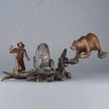 Bear and Fisherman Bronze Sculpture | Convergence | 24013