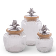Magnolia Glass Canister Set of 3 | Arthur Court Designs | 15SSM2